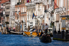 Venice gondolier on the Grand Canal Stock Photos