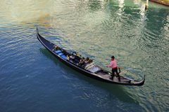 Venice!. A gondolier rowing in the Laguna royalty free stock photos