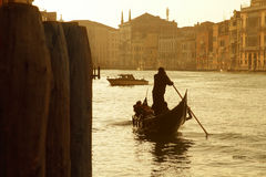 Venice gondolier at sunrise Royalty Free Stock Image