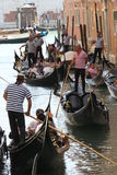 Venice Gondoliers in a traditional venetian canal Stock Photography