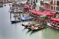 Venice Gr Canal Fr Rialto Gondola Pier Stock Images