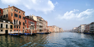 Venice - Grand Canal. A wide panoramic shot of the Grand Canal in Venice on a clear day Stock Photography