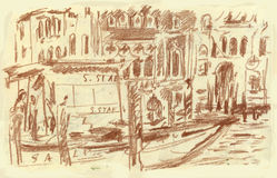 Venice, Grand Canal. Hand drawn picture of Venice, Grand Canal, San Stae Royalty Free Stock Photography