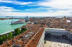 Venice, Grand canal, Basilica Santa Maria della Salute and Piazza San Marco Stock Photos