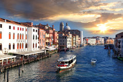 Venice, Grand canal with boats Royalty Free Stock Image