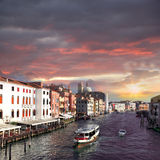 Venice, Grand canal with boats Stock Photo