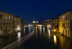 Venice Grand Canal and Buildings  at Night Stock Photo