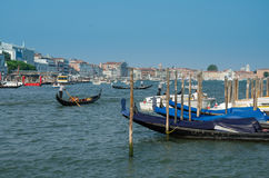 Venice Grand Canal, channel and gondolas Stock Photo