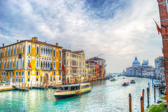 Venice grand canal on a cloudy day Royalty Free Stock Images