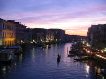 Venice grand canal at dusk Royalty Free Stock Photos