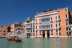 Venice, the Grand Canal, gondola ride, walk along the canals, marble fasades of the palases. Royalty Free Stock Photography