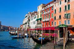 Venice Grand Canal and gondola small harbor Stock Image