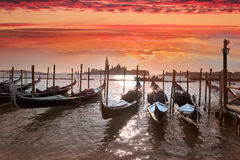 Venice, Grand canal with gondolas. Gondolas on Grand Canal in Venice, Italy Royalty Free Stock Image