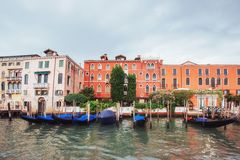 Venice Grand canal with gondolas and Rialto Bridge, Italy in sum Royalty Free Stock Images