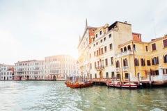 Venice Grand canal with gondolas and Rialto Bridge, Italy in sum Royalty Free Stock Photos