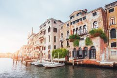 Venice Grand canal with gondolas and Rialto Bridge, Italy in sum Royalty Free Stock Photography