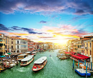 Venice Grand canal with gondolas and tourist ships Royalty Free Stock Image