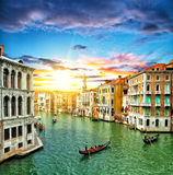 Venice Grand canal with gondolas and tourist ships Royalty Free Stock Images