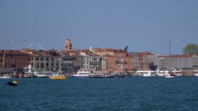 Venice Grand Canal. In Venice, Italy. The movement of boats and gondolas in the water. 4K stock footage