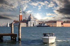 Venice, Grand canal with motor boat Royalty Free Stock Photos