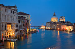 Venice Grand Canal at night, Italy Stock Image