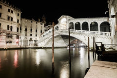 Venice grand canal, Rialto bridge night view. Italy Stock Photography