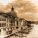 Venice Grand Canal with San Simeone dome in sepia tone Royalty Free Stock Images