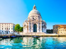 Venice grand canal, Santa Maria della Salute church landmark at. Venice grand canal view, Santa Maria della Salute church landmark at sunrise. Italy, Europe Royalty Free Stock Photography