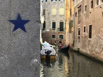 Venice, the grand canal and two tourists royalty free stock photos