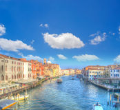 Venice Grand Canal under white clouds Stock Photos