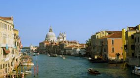 Venice Grand Canale from Accademia Bridge and skyline, Venice Italy stock video