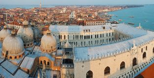 Venice harbour,Italy, view from the bell tower royalty free stock photos