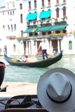 Venice. Hat and gondola at the Canal Grande in Stock Photography