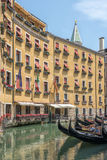 Venice hotel and gondola, Italy Royalty Free Stock Photo
