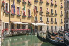 Venice hotel and gondola, Italy Royalty Free Stock Photos