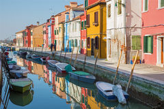 Venice - Houses over the canal from Burano island Royalty Free Stock Photo