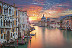 Venice. Image of Grand Canal in Venice, with Santa Maria della Salute Basilica in the background Stock Photos