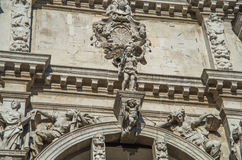 Venice 15. Intracate statues set amongst white stone historical church walls in venice Stock Images