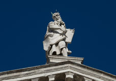 Venice 16. Intracate statues set amongst white stone historical church walls in venice Royalty Free Stock Photo