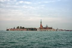 Venice. The island of San Giorgio Maggiore, seen from across the lagoon. Early morning on a winters day. Italy Stock Photo