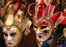 Venice Italian many carnival mask for sale in the shop Royalty Free Stock Images