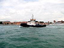 VENICE, ITALY – June 11, 2016: Pilot boat for cruise ship with Stock Image