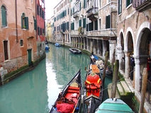 Venice Italy. Gondolahs in a venice water canal Stock Images
