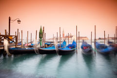 Venice, Italy. Beautiful Venice, Italy with gondolas -colored photo, with added vignetting, long exposure Royalty Free Stock Image