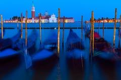 Venice, Italy. Night Photo of Gondolas in Venice, Italy Stock Photography