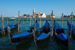Venice, Italy. Night Photo of Gondolas in Venice, Italy Royalty Free Stock Photography