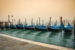 Venice, Italy. Parked gondola boats in Venice, Italy Stock Photo
