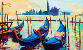 Venice, Italy. Original oil painting of beautiful Venice, Italy on sunset.gondolas and houses  on canvas.Modern Impressionism Stock Images