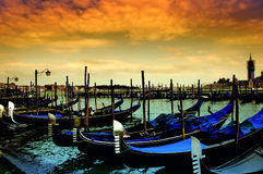 Venice - Italy. The Gondola Parking - Venice - Italy Royalty Free Stock Photography