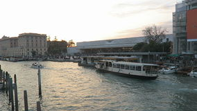 Venice, Italy ACTV water bus at Ferrovia train station stop. stock video footage